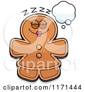 Cartoon Of A Dreaming Gingerbread Woman Mascot Royalty Free Vector Clipart by Cory Thoman
