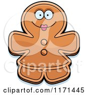 Cartoon Of A Happy Gingerbread Woman Mascot Royalty Free Vector Clipart by Cory Thoman