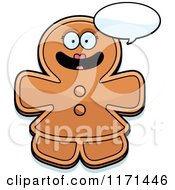 Cartoon Of A Happy Talking Gingerbread Woman Mascot Royalty Free Vector Clipart by Cory Thoman