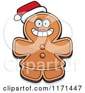 Cartoon Of A Christmas Gingerbread Woman Mascot Wearing A Santa Hat Royalty Free Vector Clipart by Cory Thoman