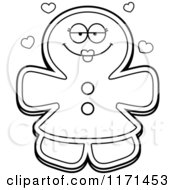 Cartoon Clipart Of A Loving Gingerbread Woman Mascot With Open Arms Vector Outlined Coloring Page by Cory Thoman