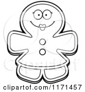 Cartoon Clipart Of A Happy Gingerbread Woman Mascot Vector Outlined Coloring Page by Cory Thoman
