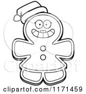 Cartoon Clipart Of A Christmas Gingerbread Woman Mascot Wearing A Santa Hat Vector Outlined Coloring Page by Cory Thoman