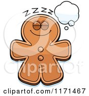Cartoon Of A Dreaming Gingerbread Man Mascot Royalty Free Vector Clipart by Cory Thoman