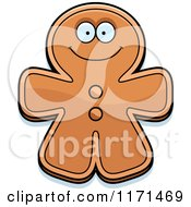 Cartoon Of A Happy Gingerbread Man Mascot Royalty Free Vector Clipart