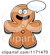 Cartoon Of A Happy Talking Gingerbread Man Mascot Royalty Free Vector Clipart by Cory Thoman