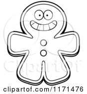 Cartoon Clipart Of A Grinning Happy Gingerbread Man Mascot Vector Outlined Coloring Page