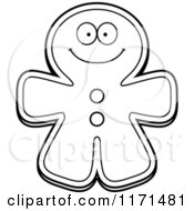 Cartoon Clipart Of A Happy Gingerbread Man Mascot Vector Outlined Coloring Page