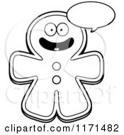 Cartoon Clipart Of A Happy Talking Gingerbread Man Mascot Vector Outlined Coloring Page