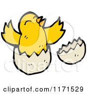 Cartoon Of A Hatching Bird Royalty Free Vector Illustration by lineartestpilot