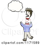 Cartoon Of A Thinking Decapitated Man Royalty Free Vector Illustration