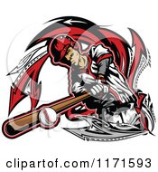 Clipart Of A Baseball Player Hitting A Ball With A Bat Over Arrows Royalty Free Vector Illustration
