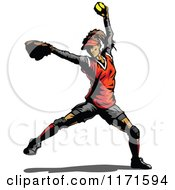 Clipart Of A Softball Pitcher Royalty Free Vector Illustration