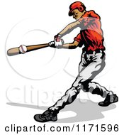 Clipart Of A Baseball Batter Hitting A Ball Royalty Free Vector Illustration