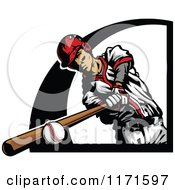 Clipart Of A Baseball Player Hitting A Ball With A Black Design Royalty Free Vector Illustration
