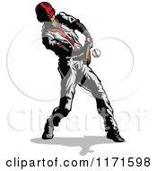 Clipart Of A Baseball Player Hitting A Ball Royalty Free Vector Illustration