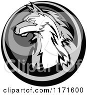 Clipart Of A Grayscale Wolf Head In A Circle Royalty Free Vector Illustration