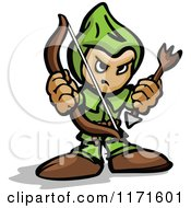 Cartoon Of A Tough Archer Holding A Bow And Arrow Royalty Free Vector Clipart