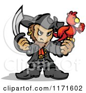 Cartoon Of A Tough Pirate Holding A Sword And Parrot Royalty Free Vector Clipart