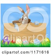Cartoon Of A Brown Easter Bunny Rabbit Pointing Down At A Wood Sign Over Eggs In Grass Royalty Free Vector Clipart