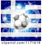 Clipart Of A Soccer Ball Over A Greek Flag With Fireworks Royalty Free Vector Illustration