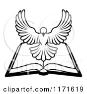 Cartoon Of A Black And White Holy Spirit Dove Above An Open Bible Royalty Free Vector Clipart