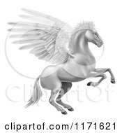 Clipart Of A Silver Winged Pegasus Horse Rearing Royalty Free Vector Illustration