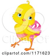 Cartoon Of A Cute Easter Chick Wearing A Pink Easter Bow Royalty Free Vector Clipart by Pushkin