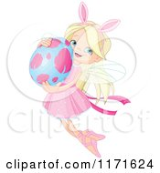 Cartoon Of A Blond Fairy Girl Wearing Bunny Ears And Flying With An Easter Egg Royalty Free Vector Clipart