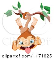 Cartoon Of A Silly Monkey Making A Funny Face And Hanging Upside Down From A Branch Royalty Free Vector Clipart