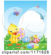 Cartoon Of A Cute Easter Duck With Decorated Eggs By A Frame With Butterflies Royalty Free Vector Clipart by Pushkin