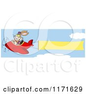 Cartoon Of A Bunny Rabbit Flying An Airplane With A Banner Royalty Free Vector Clipart