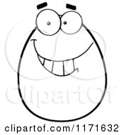 Cartoon Of A Grinning Black And White Easter Egg Mascot Royalty Free Vector Clipart