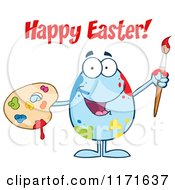 Cartoon Of Happy Easter Text Over A Blue Egg Mascot Holding A Paintbrush And Palette Royalty Free Vector Clipart