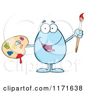 Cartoon Of A Blue Easter Egg Mascot Holding A Paintbrush And Palette Royalty Free Vector Clipart