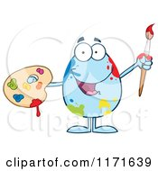 Cartoon Of A Blue Easter Egg Mascot Spattered And Holding A Paintbrush And Palette Royalty Free Vector Clipart