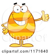 Cartoon Of A  Striped Orange Egg Mascot Holding A Thumb Up Royalty Free Vector Clipart