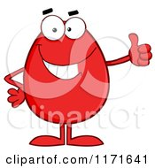 Cartoon Of A  Red Egg Mascot Holding A Thumb Up Royalty Free Vector Clipart