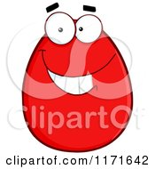 Cartoon Of A Grinning Red Easter Egg Mascot Royalty Free Vector Clipart