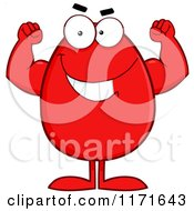 Cartoon Of A Flexing Red Easter Egg Mascot Royalty Free Vector Clipart