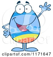 Cartoon Of A Waving Easter Egg Mascot Royalty Free Vector Clipart