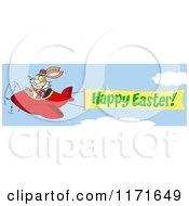 Cartoon Of A Bunny Rabbit Flying An Airplane With A Happy Easter Banner Royalty Free Vector Clipart