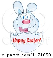 Cartoon Of A Bunny With Happy Easter Text On An Egg Shell Royalty Free Vector Clipart