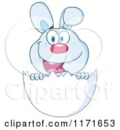 Cartoon Of A Happy Easter Bunny In A White Egg Shell Royalty Free Vector Clipart
