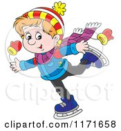 Cartoon Of A Happy Boy Ice Skating Royalty Free Vector Clipart