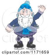 Cartoon Of A Happy Senior Man Waving While Ice Skating Royalty Free Vector Clipart