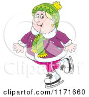 Cartoon Of A Happy Senior Woman Ice Skating Royalty Free Vector Clipart