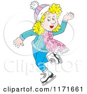Cartoon Of A Happy Blond Woman Ice Skating Ice Skating Royalty Free Vector Clipart