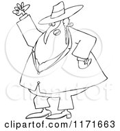 Cartoon Of An Outlined Mad Rabbi Waving A Fist In The Air Royalty Free Vector Clipart by djart