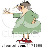 Cartoon Of A Mad Woman Shouting And Holding Out An Arm Royalty Free Vector Clipart